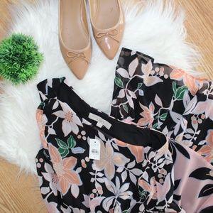 Loft Black Floral One Shoulder Dress S NWT